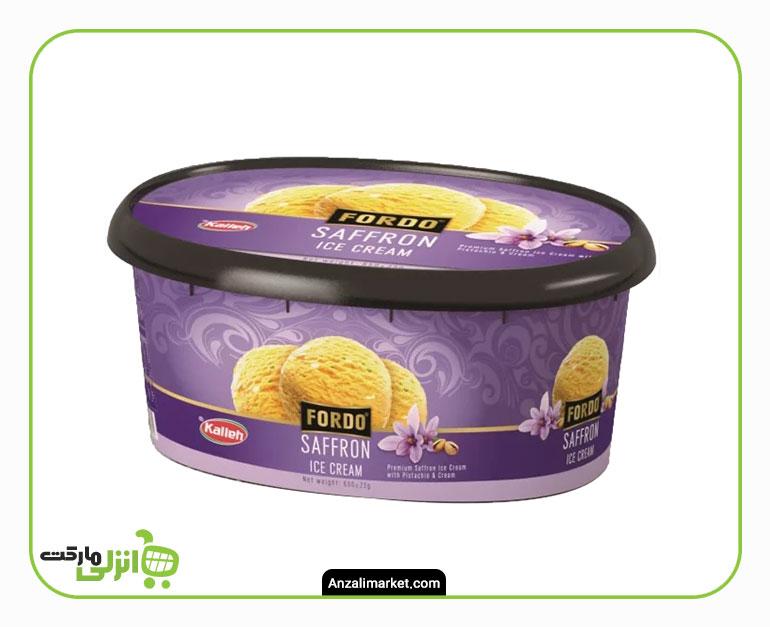 بستنی زعفرانی با خامه و پسته فوردو کاله - 1 لیتر